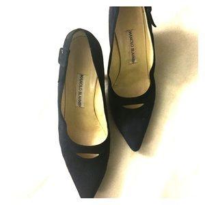 Manolo Blahnik Navy Suede Pointed Heels